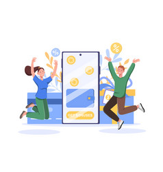 Get bonuses loyalty program and cash back concept vector