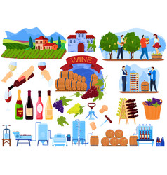 Grape wine product process in factory vector