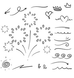 Hand drawn collection curly swishes swashes vector
