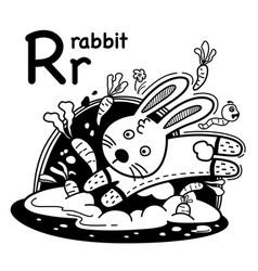 Hand drawnalphabet letter r-rabbit vector