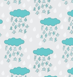 Happy funny raindrops seamless pattern vector