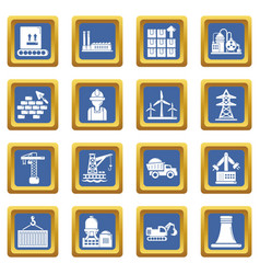Industry icons set blue square vector