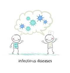 infectious diseases specialist says with a patient vector image
