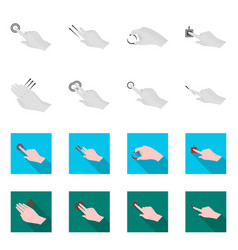 isolated object of touchscreen and hand logo set vector image