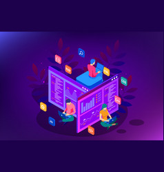 Isometric programmer coding new project web vector