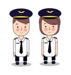 Kids in professions cartoon airplane pilot vector