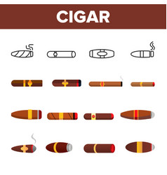 lit luxurious cuban cigar icons set vector image