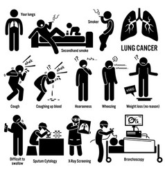lung cancer symptoms causes risk factors vector image