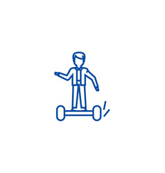 man on gyroscooter line icon concept man on vector image