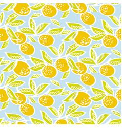 Mandarin on blue background seamless pattern vector