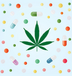 Medical marijuana cannabis leaf and colorful vector