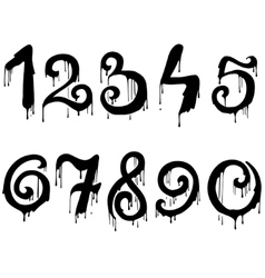 Melted numbers set vector image