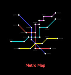 metro map sign color line card vector image