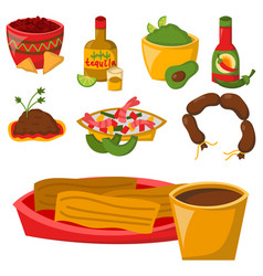 Mexican traditional food with meat avocado tequila vector