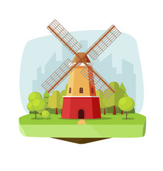 Mill farm on nature landscape vector