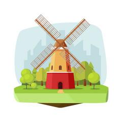 mill farm on nature landscape vector image