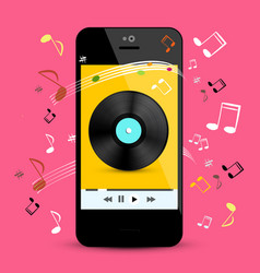 music player on smartphone with lp disc and notes vector image