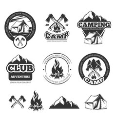 Nature vintage labels set for scout camp camping vector