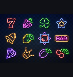 neon casino signs slot gambling machine playing vector image
