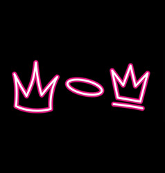 Neon crown graffiti set in pink over black vector