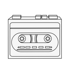 Old cassette recorder vector