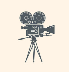 Old movie camera filming cinema video symbol vector