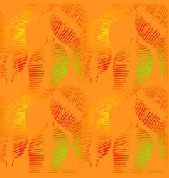 pattern of neon feathers and leaves on a yellow vector image