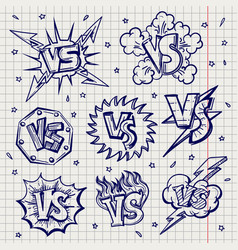 pen drawn versus confrontation labels vector image