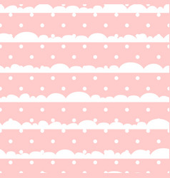 pink and white polka dot clouds baby seamless vector image