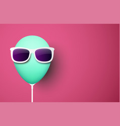 pink background with green balloon in sunglasses vector image