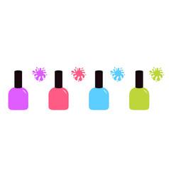 pink blue violet green nail polish varnish icon vector image