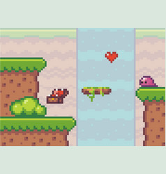 pixel art style game background with heart near vector image