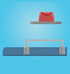 Place at train shelf and bag traveling situation vector