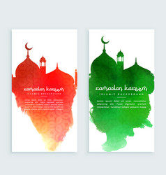 Ramadan kareem colorful vertical banners vector