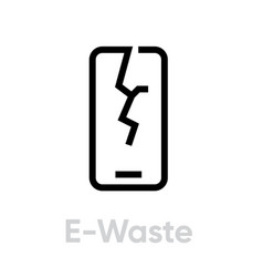 Recycling e-waste icon editable line vector