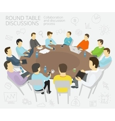 Round-table talks group business people team vector