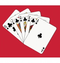 royal flush clubs vector image vector image