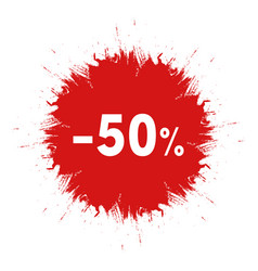 sale sticker template red ink blot icon 50 vector image