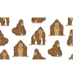 seamless pattern with gorillas vector image
