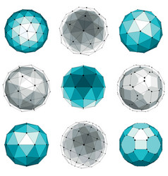 Set abstract 3d faceted figures with connected vector