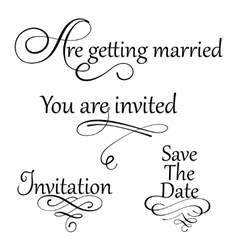 Set collection of wedding calligraphy inscriptions vector image