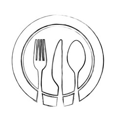 set cutlery with dish tools icon vector image