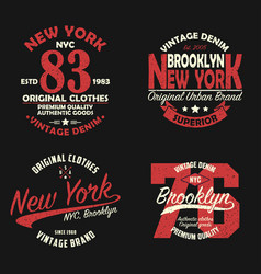 set new york brooklyn vintage print for t-shirt vector image