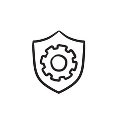Shield with gear sketch icon vector