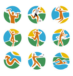 Sport icons set on round colorful expressive backg vector