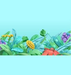 spring grass and flowers cartoon 3d background vector image