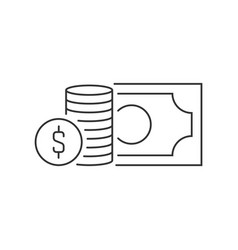 stack coins and banknote linear icon on white vector image