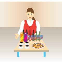 Stewardess with a table and drinks vector