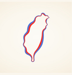 Taiwan - outline map vector