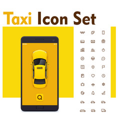 taxi mobile app icon set vector image